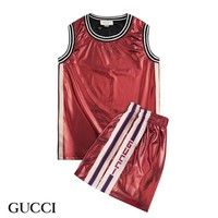 Gucci Fashion Men Shirt Top Tee Shorts Set Two-Piece Red