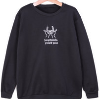 Black Long Sleeve Finger Embroidered Sweatshirt - Sheinside.com