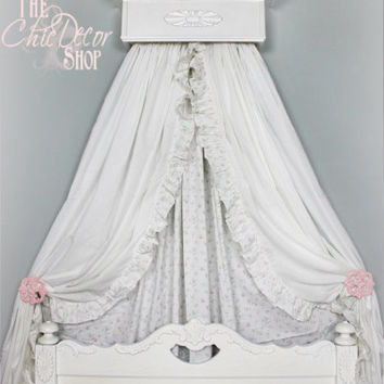 Bed Crown, Crib Crown, Ornate Wood Applique, Bed Canopy, French, Cottage, Romantic, Shabby Chic