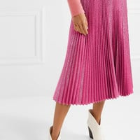 Cédric Charlier - Pleated Lurex midi skirt