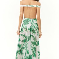 Sheer Tropical Leaf Print Maxi Dress
