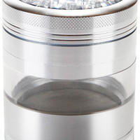 "Large Herb Grinder - Mega Crusher - 2.5"" Clear Top (Silver)"