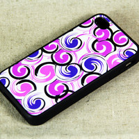 Stylish Circle Dots Print iPhone 4 iPhone 4S Case, Rubber Material Full Protection