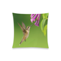 """Hummingbird Delight New Pillow Case Pillow Inner Included 20""""x20""""(Two sides) 