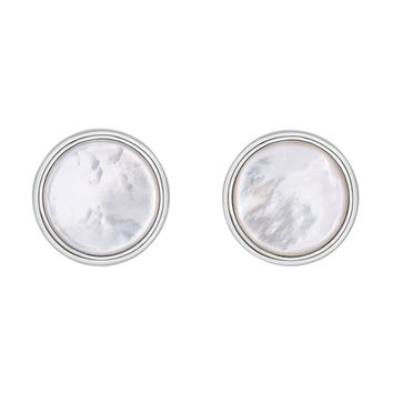Sterling Silver Mother Of Pearl Round Cufflink