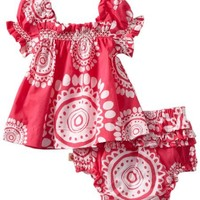 Hatley   Baby Girls' Voile Dress with Bloomer, Mandala Pink, 18 24 Months