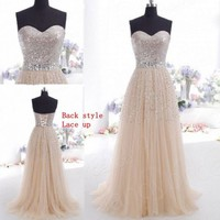 New Sexy Long Lace Pink Prom Party Dress Cocktail Homecoming Bridesmaid Dresses