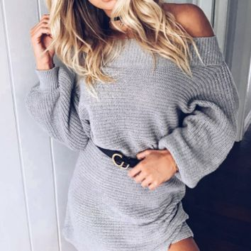 Fashion word shoulder bat sleeve sweater knitted jumpsuit skirt female