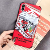 NIKE & Off White Fashion New Letter Arrow Print Women Men Phone Case Protective Cover Red