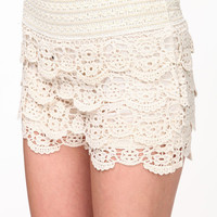 HIGH WAISTED CROCHET LACE SHORTS