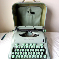 Mint Green Hermes 3000 Typewriter - Cursive Script Font - Lydia - Professionally Serviced