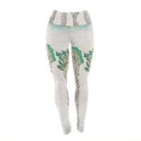 "Pom Graphic Design ""Amazon Trees"" White Nature Yoga Leggings"