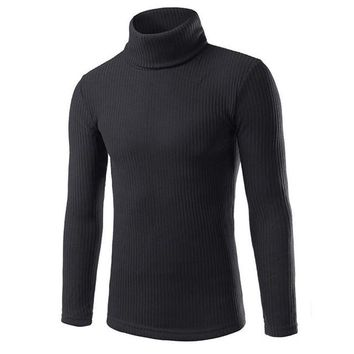 Sweater Men Turtleneck Warm Long Sleeve Casual Sweater Solid Pullover Men Sueter Hombre#212