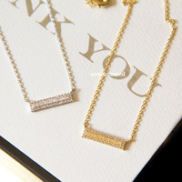 Rhinestone Bar Necklace, Hipster Necklace, Necklaces, Gold Plated Necklace, Bar Necklace, Bar Dog Tag, Minimal Jewelry, Gift Ideas, Holiday