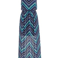 Striped Maxi Dress With Front Slits - Blue Jasmine Combo