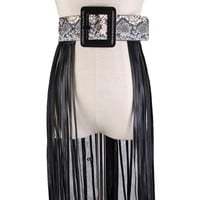Snake Pattern Smooth Buckle Leather FringeCorset Belt