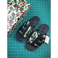 A Bathing Ape X Suicoke Kaw-vs Bape Camo Green Black Sandals