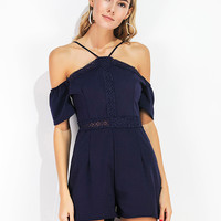 Navy Cold Shoulder Lace Panel Spaghetti Strap Romper Playsuit