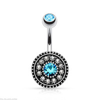 Vintage flower belly button rings body jewelry women blue crystal navel piercing ombligo sexy pircing nombril nipple septum ring