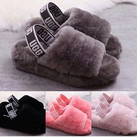 """UGG"" Winter High Quality Autumn Winter Popular Women Cute Fluff Yeah Slippers Shoes I/A"