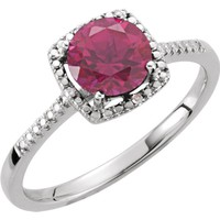 Sterling Silver Created Ruby & .01 CTW Diamond Halo-Style Ring