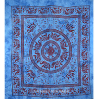 Giant Indian Blue Elephant Mandala Tapestry Wall Hanging Bedspread Bedding on RoyalFurnish.com