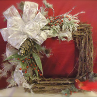 "Christmas Wreath Natural Twig Square- "" "", Silk floral, Summer, Yellow, Lillie's, Roses, Gift, Home Decor, Housewarming"