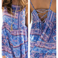 Modern Muse Blue Print Sundress