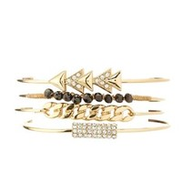 Gold Chain & Arrow Bangles - 4 Pack by Charlotte Russe
