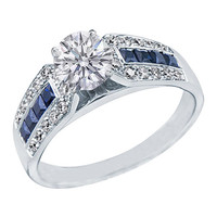Engagement Ring - Round Diamond Vintage Engagement Ring Horseshoe blue sapphires & diamond accents 0.6 tcw. In 14K White Gold - ES591