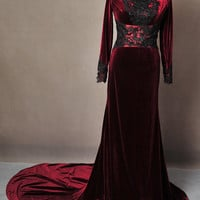 Once Upon A Time Regina Evil Queen Inspired Red Velvet Ball Gown Dress Cosplay Costume