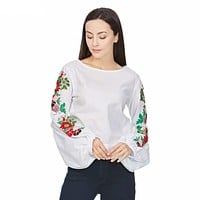 Floral Lantern Sleeves White Top