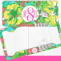 Aqua Yellow Tropical Flowers Monogram License Plate Frame Holder Metal Wall Sign Tags Personalized Custom Vanity