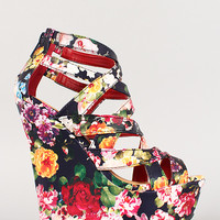 Dollhouse Floral Strappy Open Toe Platform Wedge