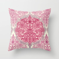 Happy Place Doodle in Berry Pink, Cream & Mauve Throw Pillow by Micklyn