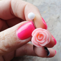 Blush Pink Rose Flower Belly Button Ring