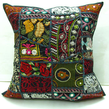 Handmade Indian Suit Patchwork Cushion Cover