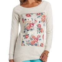 Addicted to You Graphic High-Low Tunic Sweatshirt - Oatmeal Heather