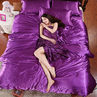 100% Pure Satin Silk Bedding Set Queen Size Bed Sheet Sets Bedclothes Solid Duvet Cover Set Sheet