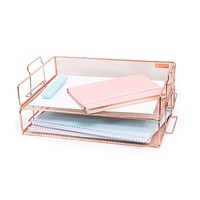 Rosework Rose Gold Letter Tray - 2 Tier Rose Gold Desk Organizer for Women, Stackable Paper Tray Organizer, File Organizer for Home Office Supplies, Desk Accessories and Home Office