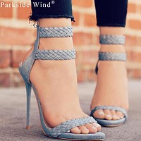 Fashion Sandals Open Toe Heels Summer Faux Suede Women's High Heel Shoes