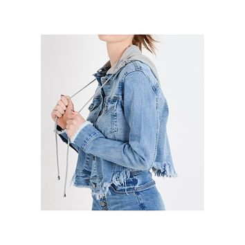 Womens Casual Distressed Fringed Hem Denim Jacket With Detachable Hoodie