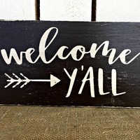 WELCOME YALL Rustic Sign / Bohemian Decor / Fall Decor / FREE Shipping