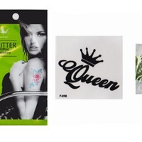 MP Waterproof Non-toxic Temporary Fake Tattoo with Sequins Crown and Queen Detail FA98 SDP 0616
