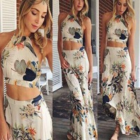 Bohemian dress for women Summer Long Maxi Dress Fashion Sexy Cross Backless Halterneck Floral Print 2 Piece Set  Beach Dresses