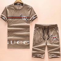 Gucci Fashion Bee Letter Print Shorts Sleeve Set Two-Piece I-A00FS-GJ