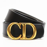 Dior Tide brand women's simple personality letter buckle belt black