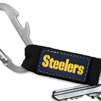 Officially Licensed NFL Pittsburgh Steelers Carabiner Key Chain w/ Bottle Opener