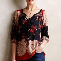 Blossomed Silk Peasant Top by Meadow Rue Red Motif