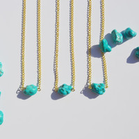 Gold Chain Turquoise Stone Chunk Choker Necklace